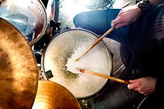 Live music and drummer.Music instrument Stock Photos