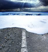 Road and sea.Sea storm concept Stock Photos