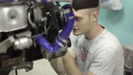 Adult mechanic inspect the car engine Stock Footage