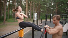 Workout with Personal Trainer Stock Footage