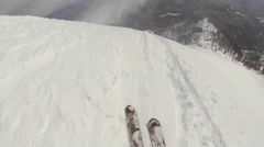 POV of a man downhill skiing. Stock Footage