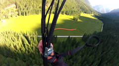 A man lands after speed flying riding in the mountains. Stock Footage