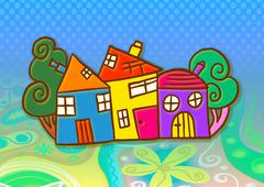 Colourful Village Stock Illustration