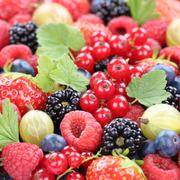 Berry fruits fresh organic berries fruit collection strawberries, blueberries Stock Photos