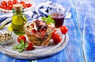 Seafood salad with vegetables Stock Photos