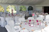 Image of tables setting at a luxury wedding hall Stock Photos