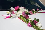Limousine, decorated with flowers - white and pink Stock Photos