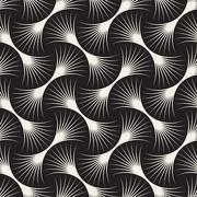 Vector Seamless Black and White Arc Lines Grid Pattern Stock Illustration