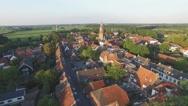 Aerial circling beautiful walled city,Buren,Netherlands Stock Footage