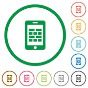Smartphone firewall outlined flat icons Stock Illustration
