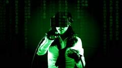 Virtual matrix girl emotions amused Stock Footage