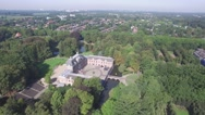 Aerial fort in forested area,Zeist,Netherlands Stock Footage