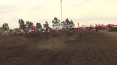 The starting line of a motocross motor sports race. Stock Footage