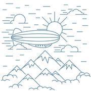 Airship tourism banner Stock Illustration