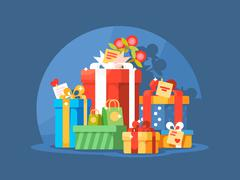 Heap of gift boxes Stock Illustration
