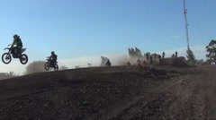 Men racing in a motocross motor sports race. Stock Footage