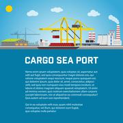 Sea Port, Unloading of Cargo Containers from the Container Carrier, Cranes in Stock Illustration