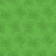 Seamless vector doodle illustration with butterfly over green background Stock Illustration