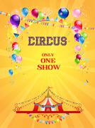 Circus poster on yellow background Stock Illustration