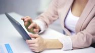 Businesswoman hands with tablet pc Stock Footage
