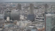 Zoomed aerial view of London buildings in St Paul Cathedral area Stock Footage