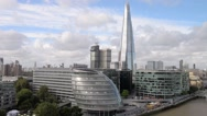 Aerial view of London skyline. Old and modern buildings along river Thames, UK Stock Footage