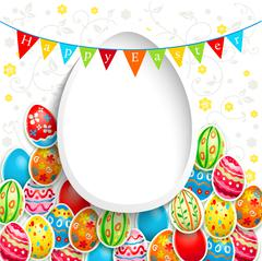 Easter holiday background with color eggs Stock Illustration