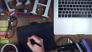 4k Technology Composition from Above of Hand Sketching with Touch Pen Stock Footage
