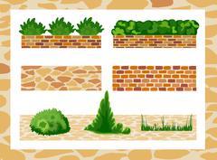 Set of elements for landscape design Stock Illustration