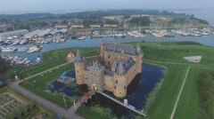 Aerial circling beautiful castle with garden,Muiden,Netherlands Stock Footage
