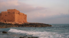 The Pathos Castle on Mediterranean seashore in Cyprus island. Stock Footage