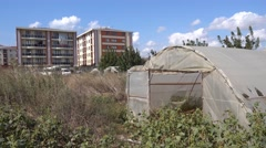 Old hothouse and new modern building 2 Stock Footage