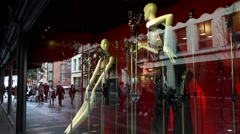 Shop window. The windows reflected people passing by Stock Footage