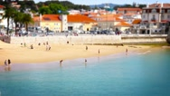 People and Canoes, Tile Shift, Cascais, Lisbon, Portugal, 4k Stock Footage