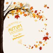 Flying maple leaves Stock Illustration