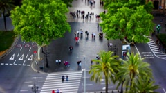 Las Ramblas, Walking People, Tile Shift, Time Lapse, Barcelona Park, Spain, 4k Stock Footage