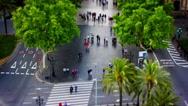 Las Ramblas, Walking People, Tile Shift, Time Lapse, Barcelona Park, Spain, 4k Stock Footage