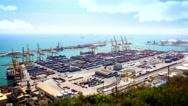 Barcelona Port Panorama, Tile Shift, Time Lapse, Spain, 4k Stock Footage