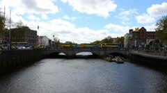 Dublin City and Liffey River, Ireland, Time Lapse, 4k Stock Footage