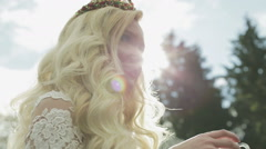 A young bride drinking hot tea Stock Footage