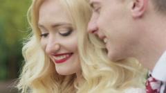 Newlyweds smiling. Closeup Stock Footage