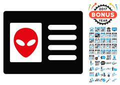 Alien Account Card Icon with 2017 Year Bonus Pictograms Piirros