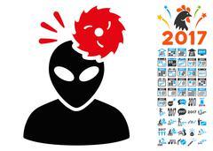 Alien Exploration Icon with 2017 Year Bonus Symbols Stock Illustration