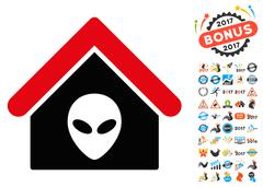 Alien Home Icon with 2017 Year Bonus Pictograms Stock Illustration