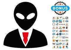Alien Manager Icon with 2017 Year Bonus Symbols Stock Illustration