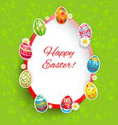 Holiday easter frame on green background Stock Illustration