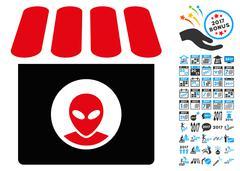 Alien Shop Icon with 2017 Year Bonus Symbols Stock Illustration