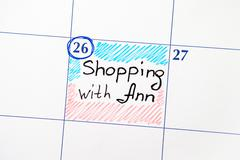Calendar with reminder Shopping with Ann Stock Photos
