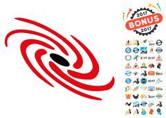Galactic Icon with 2017 Year Bonus Symbols Stock Illustration