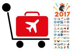 Luggage Trolley Icon with 2017 Year Bonus Symbols Stock Illustration